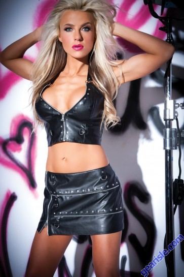 Faux Leather Metal Fetish Skirt 13-4402