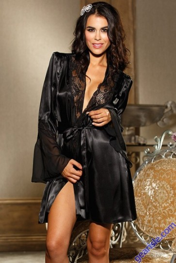 Sexy Lace and Satin Black Robe 5172 Lingerie Set