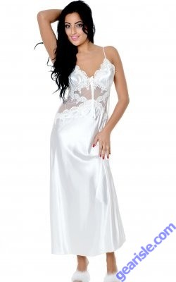 Charmeuse Gown with Venice lace 6074