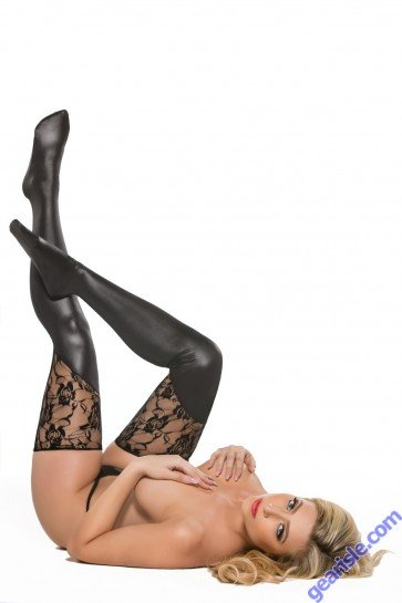 Lace Wet Look Tights Kitten-Boxed 7-3602K