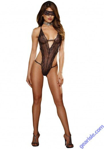 Dreamgirl 7993 Stretch Lace Halter Teddy With Elastic Strap Lingerie