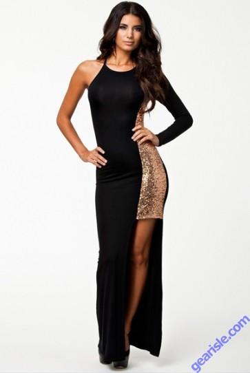 Women Fashion O-Neck Floor Length One Sleeve Maxi Long Dress 9317 Lingerie