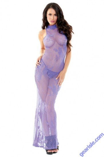 High Neck Stretch Lace Gown G-string Tease B458