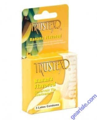 Banana Flavored 3 Lubricated Latex Condoms Trustex