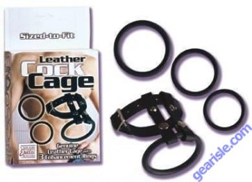 Leather Cock Cage 3 Enhancement Rings