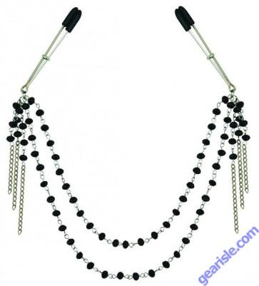 Midnight Black Jeweled Nipple Clips