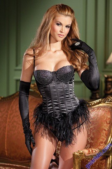 New Be Wicked 1345 Feather Hem Black Bustier