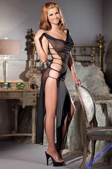 Black Translucent Sheer Mesh Full-length Dress Lingerie By BW 1368 Queen Size
