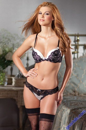 2 Piece White Bra Black Lace Lingerie Set By Be Wicked 1380