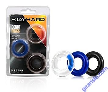 Donut Rings 3 Pack Assorted Stay Hard Blush Novelties
