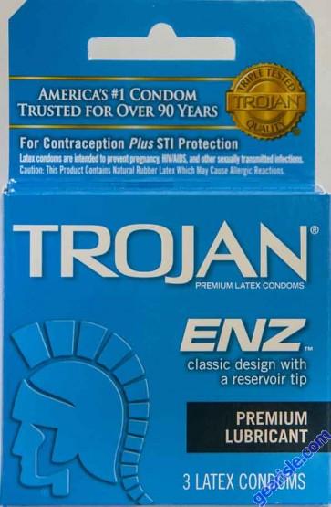 Trojan ENZ Premium Lubricated Condom Blue 3 Condoms