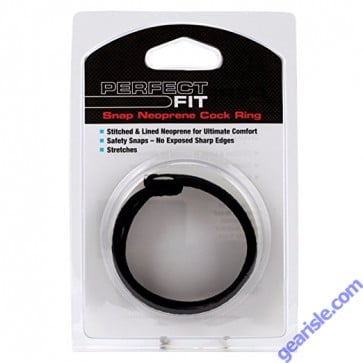 Snap Neoprene Cock Ring Black Perfect Fit