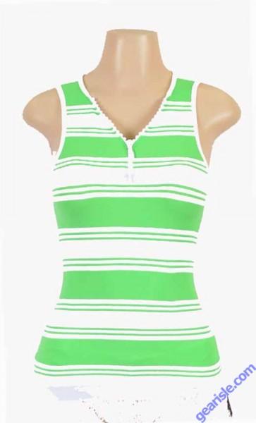 Women Seamless Striped Top With Zipper WK Apparel Lingerie