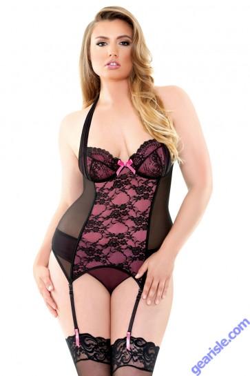 Gigi Halter Underwire Bustier Panty Set Curve P203