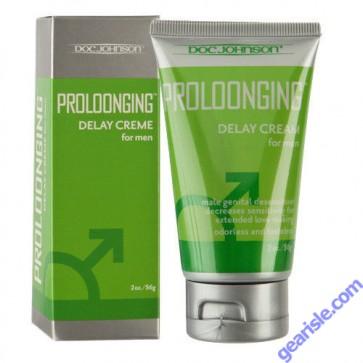 Proloonging Delay Cream For Men 7.5% Benzocaine 2 Oz Desensitizer Doc Johnson