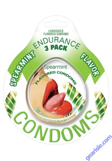 Endurance 3 Pack of Flavored Lubricated Condoms in Spearmint