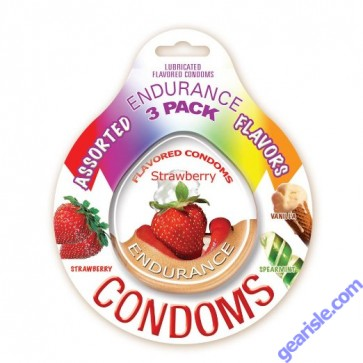 Endurance Assorted 3 Pack of Flavored Lubricated Condom