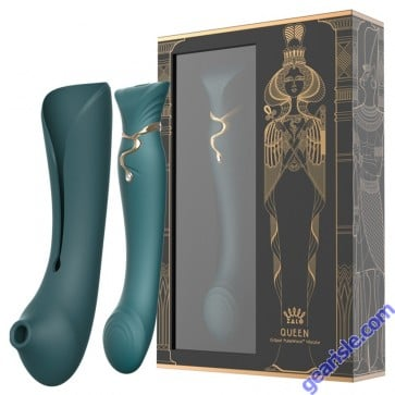 Queen Set G-spot PulseWave Vibrator with Suction Sleeve Jewel Green 1