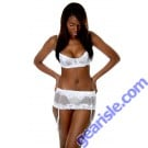 Vx Intimates Lace Bra plus Garter and G-String Set White Red Black by Vx Intimates