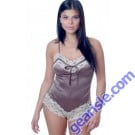 Vx Intimates 1089 Matte Satin Teddy With Lace Trims & Contrasting Ribbon Lingerie