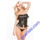 Faux Leather Corset Top G-String Naughty 11-3005