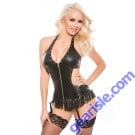 Faux Leather Halter Corset Top G-String Naughty 11-4005