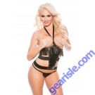 Faux Leather Cupless Halter Corset Top G-String Naughty 11-6005