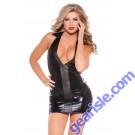 Wet Look Faux Leather Dress Kitten-Boxed 17-3042K