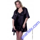 Vx Intimates 3028 Charmeuse Short Robe With Belt And Inside Tie Lingerie