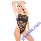 Allure Lingerie Lace Wet Look Teddy Kitten-Boxed 4-7602K