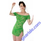 Romantic Stretch Bright Green Lace Mini Dress