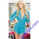Pure Color See-Through Women's Sleepwear Soft Kimono and Cheeky Panty 5245