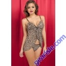 Wild Fashion Backless Straps Leopard Animal Print Babydoll 5345