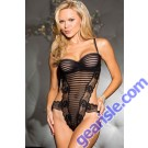 Burnout Stripe Stretch Mesh Thong Teddy 5417 Lingerie