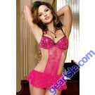 Hot Pink Sexy Lady Backless Babydoll Transparent 5631