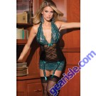 Women Sexy Sheer Lace Plus Size Blue Lingerie Sleepwear Chemise 5700