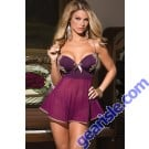 Coquette Babydoll & G-String- Plum and Tan New Plus Size Lingerie 5892