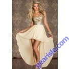 Strapless Short Front Long Back Cocktail Dresses Gold Sequined Lace Top Robe 6605