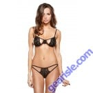 Stretch Lace Bra Cutout Panty Set Tease B176