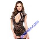 Lace Dress Cutout Neckline Panty Tease B418