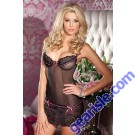 Black Lace And Hot Pink Ribbon Chemise By Be Wicked 1323