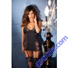Women Lace Spandex Underwire Cups Bodyhugging Chemise Sexy Lingerie 1327