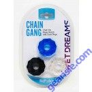 Chain Gang Erection Rings eaches. Individually wrapped cock rings in three assorted colors: Black Blue and Clear. Chain up your member in hard core style with these fun Chain link super stretch silicone love rings. Chain Link Mega Stretch Jelly Cock Rings