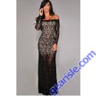 Formal Party Dresses Black Long Sleeve Lace Gown Nude Illusion Off-Shoulder