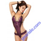 Dreamgirl 9723 Plum/Black Strappy Teddy-Black-One Size Fits Most