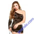 One Shoulder Lace Dress Adjustable Side Matching Thong Curve P102