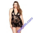 Floral Stretch Lace Chemise Matching G-String Curve P121
