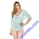 Stretch Lace Romper Adjustable Waist Snap Closure Curve P135