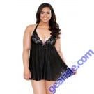 Pleated Halter Lace Cup Chemise Matching G-String Curve P169