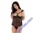 Sinful Open Cup Lace Babydoll G-string Risque Q171